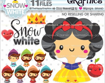 Princess Clipart, 80%OFF, Princess Graphics, COMMERCIAL USE, Snow White, Seven Dwarfs, Planner Accessories, Princess Party