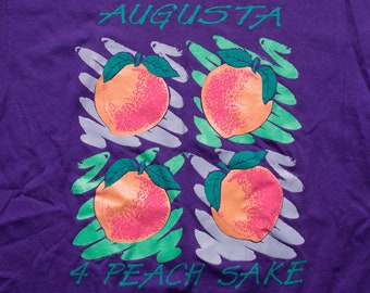 Augusta Georgia Peaches T-Shirt, 4 Peach Sake, Vintage 1990s, State Agriculture Fruit Graphic Tee, Southern Goodness