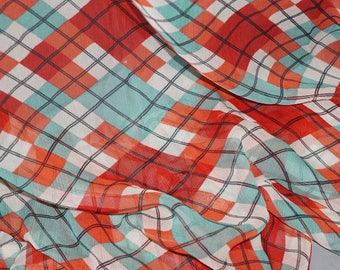 Argyle Silk Chiffon Fabric  s Semi Sheer Apparel Plaid By the Yard