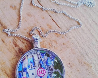 Cinderella's Castle Upcycled Disney Map Necklace