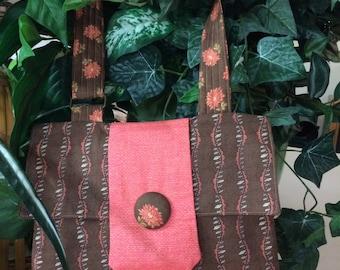 Messenger bag/ tote/ wallet/ crossbody/ shoulder bag/purse/i phone carrier/   brown & salmon color/