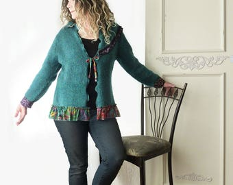 Teal Wool blend sweater, vintage Carole Little floral ruffle,  size Large XL, girly, jacket sweater, ruffle, jewel tones, ooak, tie closure