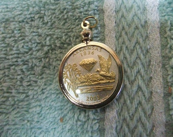 Coin Bezel Pendant Arkansas Statehood Quarter Jewelry - Gold and Silver Necklace Pendant