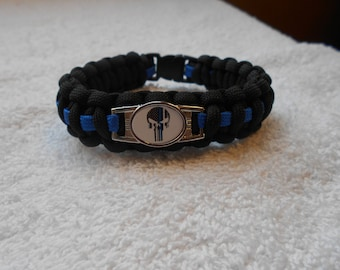 The Punisher Series Charm # 1 - Paracord Bracelet -  Hand Made