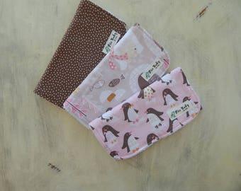 Baby girl burp cloths, Set of 3 Burp Cloths, Penguins Burp cloths, Bears Burp cloths, Baby shower gift