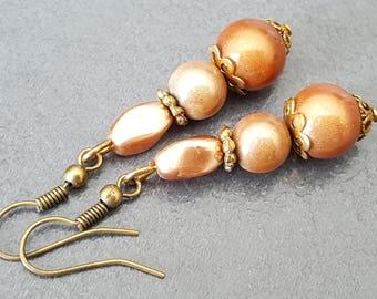 Earrings caramel magic beads, dangle earrings