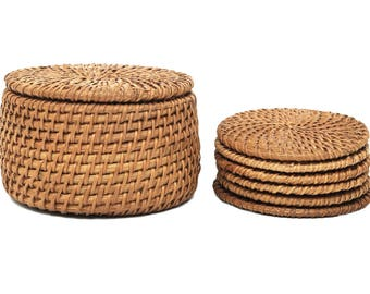 Set of 6 Vintage Handmade Knit Bamboo Rattan Straw Coasters with Holder