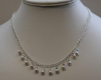 Freshwater Pearl and Swarovski Crystal Necklace.