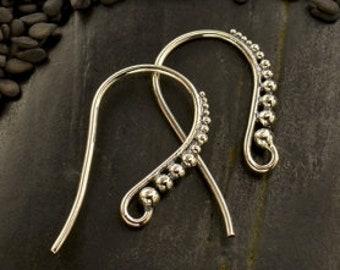 Sterling Ear Hook, Granulation Silver Earring Earwire, 925 Sterling Silver, 1 pair, 23x13x1mm, Wholesale Earwires