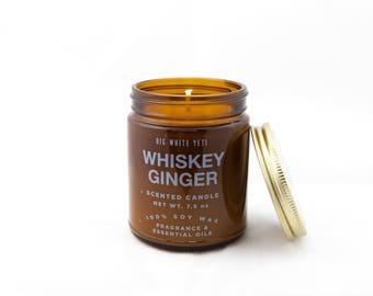Whiskey Ginger Soy Candle- 9oz Amber Jar