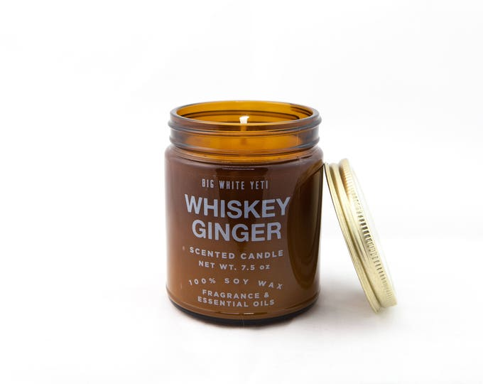 Whiskey Ginger Soy Candle- 9oz Amber Jar