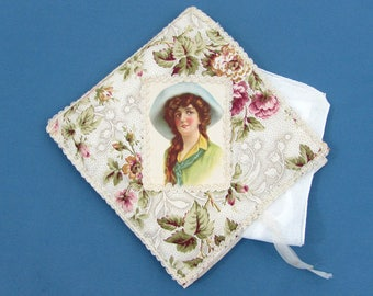 "Fold-over Hanky Holder and hand rolled edge hanky - pretty fabric with center lady - 6.5"" square - c 1910"
