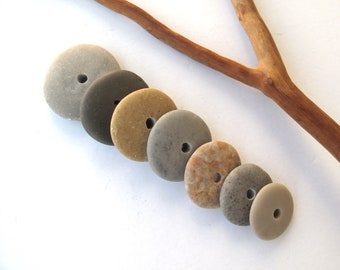Natural Stone Cairn Mediterranean Beach Stone Stacks Pebble Rock Donut Beads River Stone Spacers MARVEL WHEELS 15-21 mm