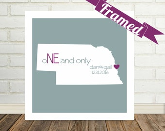 NEBRASKA Map Print Valentines Day Gift Framed Art Wedding Gift Personalized Love Map Unique Valentine Gift Valentines Day Gift for Spouse