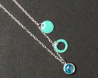 Necklace chain Silver 925 and Zircon 925 Sterling Silver set Turquoise color