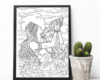 African Goddess Adult Colouring Page, Printable Coloring Pages Zen Doodle Art - Yemaya