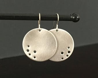 Handmade Silver Round Disc Earrings Small