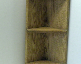 Decorative Oak Corner Shelf , Handcrafted , Re-Purposed Wood