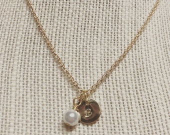 Gold or silver initial and pearl necklace