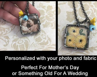 Personalized Photo Pendant, Soldered Shadow Box, Vintage Embroidery or Linen, Heirloom Piece, Custom Made For You, Mothers Day Necklace