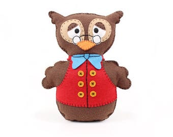 Felt Sewing Pattern for Owl, Woodland Owl Hand Sewing Pattern, Felt Professor Owl, Wise Owl, Instant Download PDF, Easy Sewing Pattern