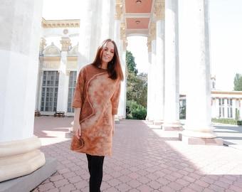 Felted dress, wool dress, Eco-friendly clothing, oversize, spring fashion, 3/4-length sleeves, beige, original clothing, ooak, silk