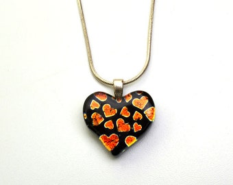 Dichroic Heart Pendant Orange Hearts on Black Glass Necklace