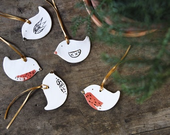 porcelain christmas ornaments, white porcelain bird ornament, robin decorations, handmade tree ornaments, bird animal Christmas decos