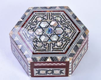 Mother Of Pearl Accessories Jewelry Box Hexagon Wood Mosaic Inlaid Trinket