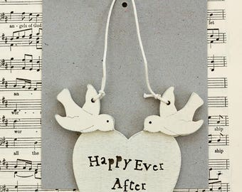 Happy Ever After Heart with Doves