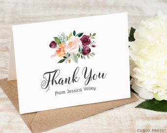 Personalized Notecard Set / Multicolor Thank You Cards / Stationery / Pretty Flower Bouquet Stationary //  DIVINE FLORALS Thank You FOLDED