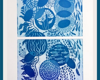 Reef, etching on paper, handprinted and signed, limited edition, aquatint, oceanlovers print