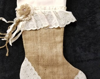 Christmas Stocking , Shabby Chic Christmas Stocking ,  Burlap Stocking , Rustic Christmas