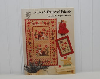 Vintage Felines & Feathered Friends Quilting Paperback Booklet (c. 1993) Cindy Taylor Oates, Cat, Bird Quilt Pattern, Folk Art Style Quilts