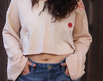 Peach Cropped Bell Sleeve Sweater