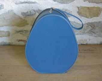 Blue train case, vintage French pear shaped vinyl vanity case