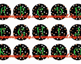INSTANT DOWNLOAD...Halloween Dots Full Alphabet 1 Inch Circle Image Collage for Bottle Caps...Buy 3 get 1