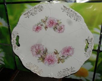 Vintage  Porcelain - Cake Plate - Pink Carnations Pattern -