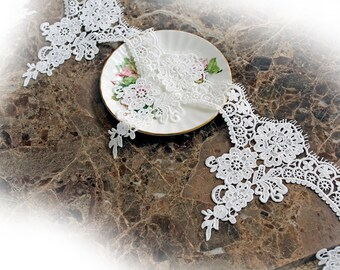 Reneabouquets Trim- 6 Inch Venice Rose Lace In White, Wide, Embroidered, Bridal, Costume Design, Lace Applique, Crafting