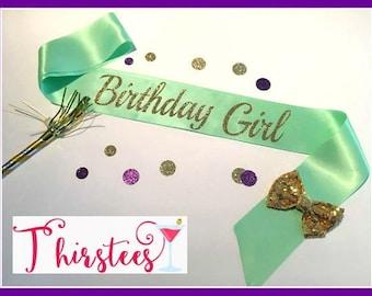 BIRTHDAY GIRL sash mint and gold Birthday Sash Party Sash birthday mint theme birthday sash with bow birthday party birthday