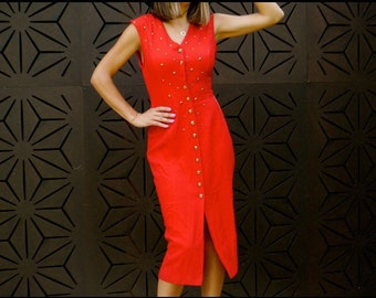 90's Red Button up Midi dress size S