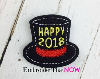 Instant Download New Year Top Hat 2018 Digital Feltie Embroidery Design File