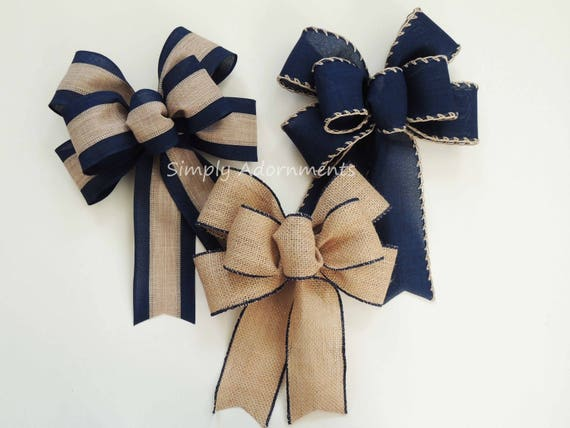Burlap Navy Christmas Bow Rustic Navy Tan Wreath Bow Navy Burlap Lantern Bow Navy door hanger Bow Navy Burlap Wedding Bow Rustic Gift Bow