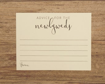 Advice for the Newlyweds - Wedding Advice Cards - Printed on Pink Cream Neutral - Guest Book Alternative Card - Newlywed Advice Cards