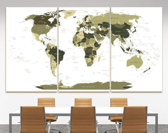 Large gray world map canvas wall art push pin gray travel large olive drab world map with country names decor canvas dark digital travel world map sciox Image collections
