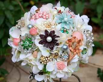 Vintage Brooch Bouquet, Pastel Blue Pink Wedding Bridal Bouquet