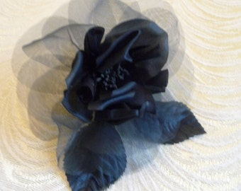 Silk Rose Dark Navy Blue Millinery Flower for Hats Fascinators Gowns Hair Clips Corsage 1FN0003N
