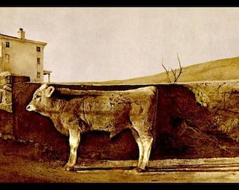 "Andrew Wyeth, Andrew Wyeth Print, Fine Art Print, Vintage Wyeth Print, American Artist, Wyeth Painting, Americana,""Young Bull"""
