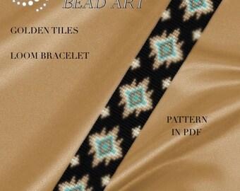 Bead loom pattern - Golden tiles LOOM bracelet pattern in PDF - instant download