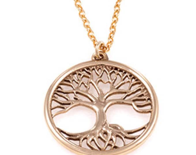 A beautiful bronze tree of life pendant on a gold plated trace chain - Hand Made in UK